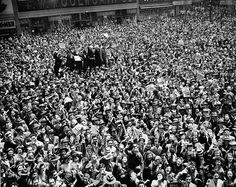 Buy the Times Square NYC Victory Day Celebration 1945 WWII Photo Print for sale at The McMahan Photo Art Gallery and Archive. New York Street, New York City, Victory In Europe Day, Photo Art Gallery, Wwii, Victorious, Crowd, City Photo, Times Square