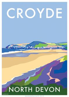 Croyde, North Devon vintage style seaside travel poster, available at http://beckybettesworth.myshopify.com/