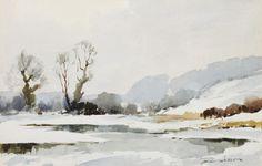 Edward Wesson, R.I., R.B.A., R.S.M.A. (British, 1910-1983) Winter landscape 12ins x 20ins.