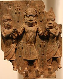 Benin Bronzes. Brass plaque showing the Oba (ruler) of Benin (modern Nigeria).    16th – 17th cent. The plaques were looted by the British during their 1897 invasion of Benin and Nigeria has repeatedly called for the return of the Benin Bronzes from the British Museum.