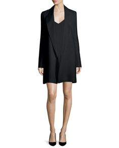 -6LG9 THE ROW  Russo Open-Front Long Jacket, Black Raja V-Neck Cami Dress, Black