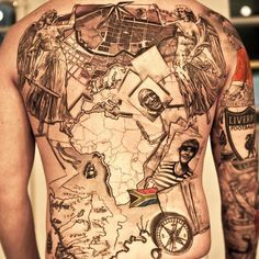 Someone is in the traveling thing huh? Awesome full back tattoo by Niki Norberg. Swede Tattoo Scene.