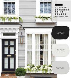37 Ideas For Exterior House Paint Color Combinations Farmhouse Grey - Farmhouse Decoration Exterior Paint Color Combinations, Exterior Color Palette, Exterior Gray Paint, House Paint Color Combination, House Paint Exterior, Exterior Design, Exterior Paint Schemes, Grey Exterior Houses, Exterior Paint Colours