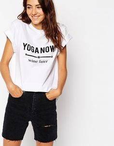ASOS Boyfriend T-Shirt with Yoga Now Wine Later Print