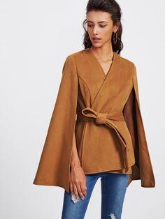 Shop Self Tie Wrap Cape Coat online. SheIn offers Self Tie Wrap Cape Coat & more to fit your fashionable needs. Camel Coat Outfit, Popular Dresses, Cape Coat, Trench Coats, Belted Coat, Romwe, Coats For Women, Blazers, Womens Fashion