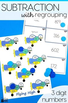 Three digit subtraction with regrouping can be so much fun with games. Perfect for centers and small groups, your 2nd grade and third grade students are going to love learning to regroup with these subtraction games. #mathgames #threedigitregrouping