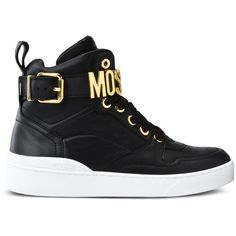 Moschino Sneakers (£391) ❤ liked on Polyvore featuring shoes, sneakers, black, moschino shoes, black rubber sole shoes, kohl shoes, round toe sneakers and rubber sole shoes