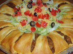 Pillsbury's Crescent Roll Taco Bake Recipe  I am really looking forward to trying this simple, yet tasty, looking recipe!  Barb