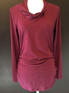 CAbi Large Top Purple Maroon Rouched Side Mock Neck Long Sleeve #132 #CAbi #KnitTop #Casual