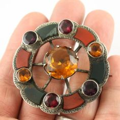 Big-Antique-Victorian-sterling-silver-c-1890-Scottish-agate-pebble-brooch-pin