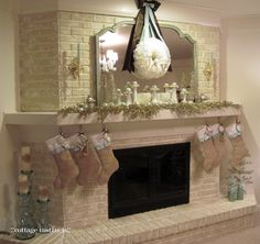 Christmas mantel display with Pier 1 Gold Wire Trees