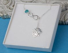 fddf8bcd9aa7 Sterling Silver infinity Lotus necklace