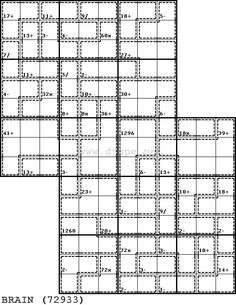 I don't think I've ever posted a puzzle like this one. Yes it is essentially a Killer puzzle. Yes, it's also an overlapping sudoku puzzle, (TwoDoku). Magic Squares, Sudoku Puzzles, Water Filters, Neuroscience, Birthdays, School, Outdoor, Games, Anniversaries