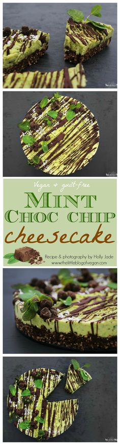 Guilt-free, RAW & vegan & fresh mint chocolate chip cheesecake is quick & easy to make and utterly delicious!