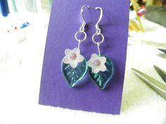 light purple glass flower, glass leaf  earrings
