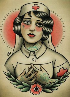 Vintage Tattooed Nurse Wall Sticker