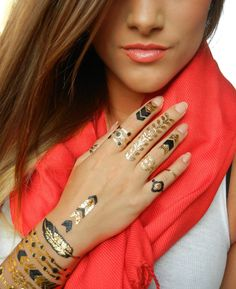 Black and Gold Metallic Temporary Jewelry Tattoos by ShimmerTatts: EXPRESS yourself with our ORIGINAL