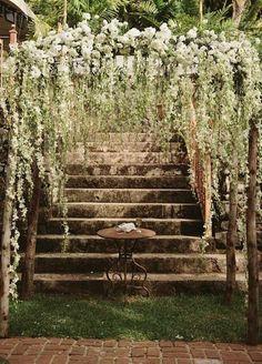 Stunning wedding ceremony backdrop idea - perfect for a garden wedding or enchanted forest wedding