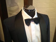 black on blue] Inspired by James Bonds Tuxedo in Skyfall. Super single button with satin shawl collar. By Oscar Hunt Melbourne. James Bond Tuxedo, James Bond Wedding, Wedding Tux, Black Bow Tie, Skyfall, Melbourne, Shawl, Satin, Button