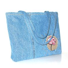 Cotton tote bag ,large recycled blue jean travel bag , mom jean tote , shopping bag , upcycled denim bag ,  one of a kind recycled clothing