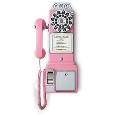 This 1950s payphone from Crosley is also a coin bank! Wall mountable phone features push button technology with rotary face, redial feature, ringer volume on/off, earpiece volume control, and 5 ft. compressed/ 11 ft. stretched cord length. Measures: 9'' x 18.25''.