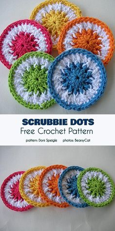 Scrubbie Dots kostenlose Häkelanleitung - Knitting and Crochet Crochet Kitchen, Crochet Home, Knit Or Crochet, Crochet Gifts, Free Crochet, Scrubbies Crochet Pattern, Crochet Dishcloths, Yarn Projects, Crochet Projects