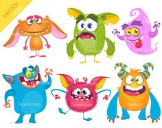 Items similar to Halloween Monsters Digital Clipart (vector illustrations) on Etsy Monster Illustration, Children's Book Illustration, Monster Characters, Cartoon Characters, Funny Monsters, Space Aliens, Baby Dragon, Funny Cartoons, Pikachu