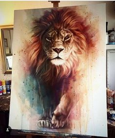Gorgeous Lion painting with awesome depth and color. Lion of Judah painting. Lion Painting, Painting & Drawing, Lion Drawing, Animal Drawings, Cool Drawings, Amazing Drawings, Amazing Tattoos, Pretty Tattoos, Animal Paintings