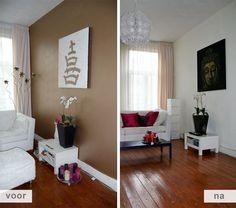 Restyling project appartement Amsterdam / woonkamer voor en na foto