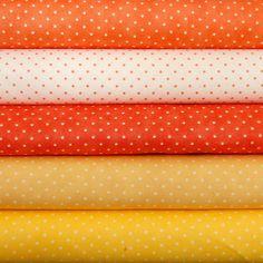 Fat 8th Bundle Moda Essential Dots citrus x 5 £7.50
