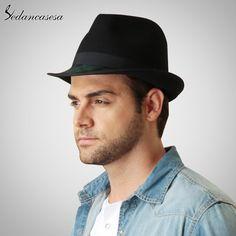 Fedora Hat Wool Felt Hats for Men Australian Wool Trilby Hat with Contrast Color Style Men Fedora Hat FM027050