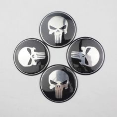 4 x Wheel Center Hub Cap Punisher Skull Emblem Badge Decal Sticker For Car Auto