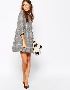 Image 4 of Essentiel Antwerp Smock Dress With High Waist Line in Check