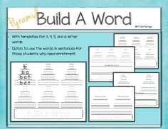 Students will use this fun Pyramid Build a Word word work activity to practice spelling cvc words, sight words, or other spelling words.  There are templates included for 3,4,5, or 6 letter words.  There is an option on the 4,5, or 6 letter words for students to practice using the words in a sentence.