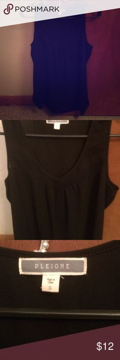 Sexy black tank Never worn, BNWOT. Sheer parts on top of blouse. Flattering and light weight. No flaws and smoke free home! Pleione Tops Tank Tops