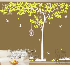 tree+wall+decals+birds+nature+vinyl+wall+decals+birds+wall+by+cuma,+$95.00
