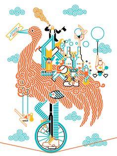 Illustration poster Cidade Imaxinaria, Cidade da Cultura de Galicia, 2015. Digital technique.