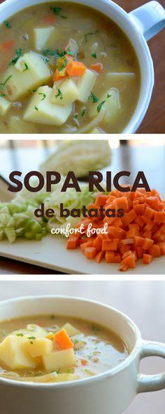 Sopa cremosa de batatas feita com vegetais saboros e caldo de carne - Sopa Cremosa de batata