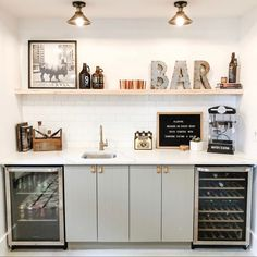 This adorable styled wet bar is perfect for a basement or living area to entertain guests and enjoy a glass of wine (or two!) Modern, Scandinavian Style has clean lines and neutral colors. Source by chatwithleahk Wet Bar Basement, Basement Bar Designs, Home Bar Designs, Basement House, Small Basement Bars, Wet Bar Designs, Finished Basement Designs, Basement Kitchenette, Basement Ceilings