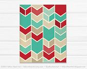 Chevron Geometric Print in Teal and Red