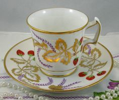 Lovely, Royal Chelsea Teacup & Saucer, Fruit/Gold Leaf Pattern, Bone English China made in 1970s. In good condition, no chips, cracks, crazing or repairs. The saucer measures-5 (12.5cm) in diameter. The Cup opening-3 (7.5cm), with the handle-3.5 (9cm) The Height-2.3 (6cm)