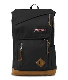 JanSport Hensley black backpack with suede leather bottom and interior laptop sleeve.