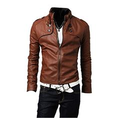 Mens Classical Slim Fit PU Leather Motorcycle Jacket