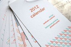 2012 cross stitch letterpress calendar by pistachio press  http://www.etsy.com/listing/84516975/sale-2012-cross-stitch-calendar