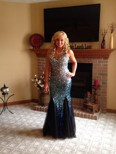 Blue/green sparkly prom dress. FOR SALE!
