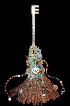 Africa lock key, amulet from the Tuareg people of Algeria | Leather, metal and beads. African Museum~