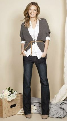 Cardigan is a great for cold weather, add belt over cardigan to create hourglass shape.