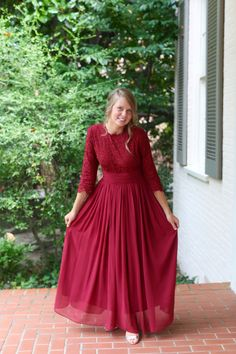 Modest bridesmaid dresses | Modest Fashion | Burgundy chiffon and lace bridesmaid dress (Exquisite English Manor) by Dainty Jewell's Modest Apparel