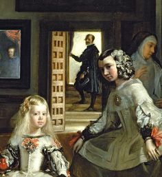 Velazquez  Las Meninas (Detail). Velazquez was possibly the first artist to record depth by the use of blurring. As they recede the figures are painted less and less distinctly. The King's reflection in the mirror is conveyed by minimal means but is nevertheless instantly recognizable.
