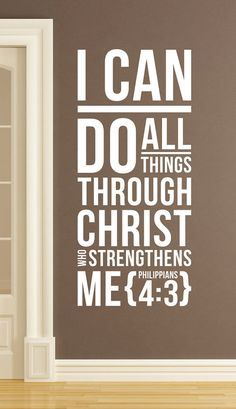 """Philippians 4:3 - Wall Vinyl Quote  - """"I can do all things through Christl"""" from aubreyheath on Etsy"""